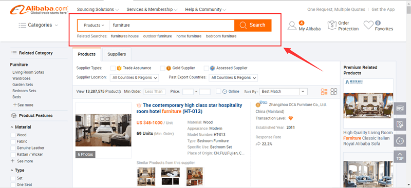 alibaba for sourcing furniture